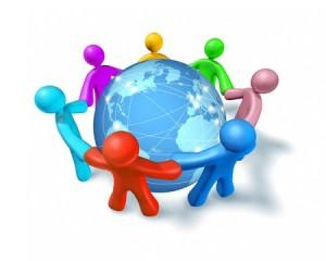 Stick figures holding hands around a globe: communication skills training